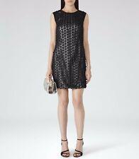 New REISS Bibi Applique Black Lace 1960s Shift Tunic Cocktail Dress Size 12 £225