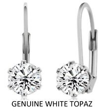 925 Sterling Silver 2.00 ct. Round 6mm CZ  Earrings White Topaz Leverback
