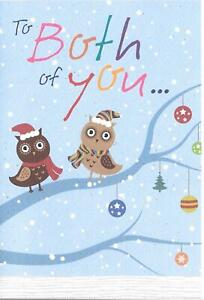 CHRISTMAS CARD TO BOTH OF YOU - OWLS, BAUBLES