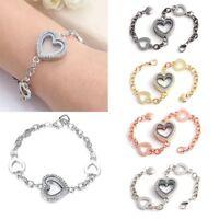 Women Living Memory Floating Charm Crystal Heart Locket Bracelet Fashion Jewelry