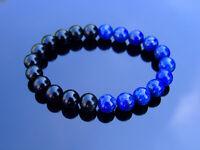 Lapis Lazuli Black Obsidian Natural Gemstone Bracelet 6-9'' Elasticated Healing