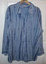 Allison Daley Woman Shirt Top Blue Long Roll Up Tab Sleeves Size XL NEW $48