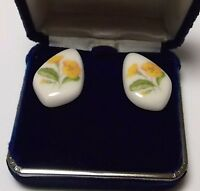 Vintage White Porcelain Yellow Daisy Primula Flower Pierced Post Earrings