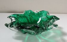 Hand Blown Glass Bowl Emerald & Clear Flower Design w/ Controlled Bubbles