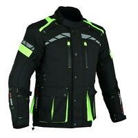 MOTORCYCLE BIKERS MEN ARMORED CORDURA WATERPROOF JACKET BLACK/HIVIZ CJ-9488