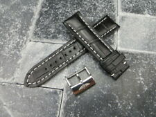 24mm Grain Leather Strap Black Watch Band with OEM BREITLING Tang Buckle WH