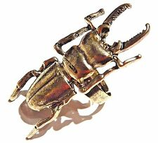 GOLD SCARAB RING stag beetle insect Egyptian Revival animal figure adjustable 2W