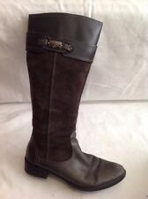 Geox Khaki Knee High Leather Boots Size 38