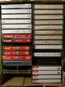 34 Bulk Used Blank Cassette Tapes - BASF Maxell Sony TDK