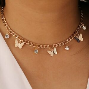 Butterfly Crystal Choker Pendant Necklace Drop Gold Clavicle Chain Women Gift