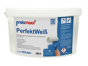 preismaxx PerfektWeiß Wandfarbe Innenfarbe weiß matt 10 L sehr gut deckend