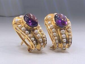 Vintage 22k Gold Amethyst & Seed Pearls Omega Back Earrings 10.2 GRAMS