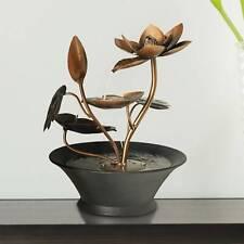 """Zen Indoor Tabletop Water Fountain 10 1/4"""" Cascading Begonia Flowers Table Desk"""