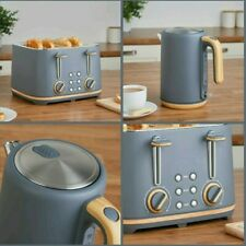NEW - Scandi-inspired 4 slice toaster and kettle Set - Grey & Wood effect