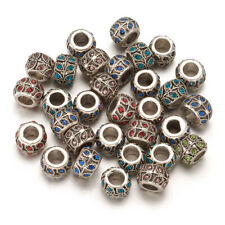 50 Alloy Paved Rhinestone European Beads Rondelle w/ Leaf Large Hole Charms 9mm