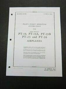 1944 AAF Fairchild PT-19 A/B PT-23 PT-26 Pilot Aircraft Flight Operating Manual