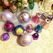 Box 12 Vtg Lavender Purple Mica Bells Indent Glitter Glass Xmas Ornaments German