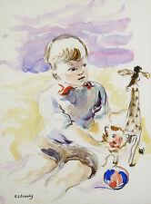 Katherine Librowicz (1915-2001) Varsovie ENFANT A LA GIRAFFE CHILDREN POLLSKA