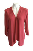 Chicos Travelers Stud Detail Cardigan Jacket  SIZE 2 LARGE Salmon Open Front NWT