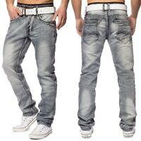 Herren Vintage Jeans Used Look Waschung Grau Jeans stretch Regular Fit