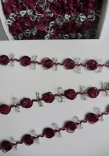 """9/16"""" Red / Black Roses Leaf Vintage Garland Trim-5 yards -T252BR"""