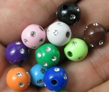 100pcs mixed color acrylic round beads jewelery findings 8mm