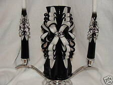 CUSTOM BLACK HAND CARVED UNITY CANDLE TAPER WEDDING SET