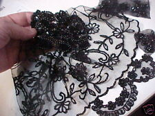 GRAB BAGS Assorted BEADS APPLIQUES PANEL Trim BLACK PIECES ENDS CUT UPS!