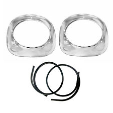 1955 56 57 Chevy Pickup Truck Headlamp Headlight Chrome Steel Bezels Pair 2pcs