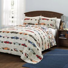 Race Car Quilt Set For Boy Girl Queen Comforter Bedding Cover Racing Theme Home