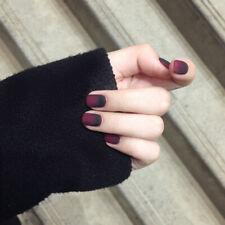 False Nails Fairy tale Apple Gradient Black Red Matte Nail Patches Short Square