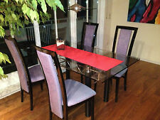 Glastisch Gr.160 x 90 x 1cm  mit 4 Hochlehnerstühle schwarz Stoff pink/graublau