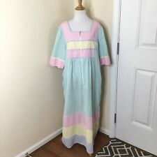 National House Coat Nightgown Robe Seersucker Colorful Half Zip Size L Muumuu