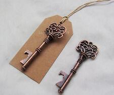 24pcs Antique Copper Wedding Skeleton Key Bottle Opener with card Wedding Favor