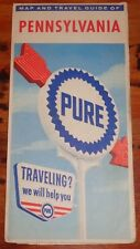 BH1050 Vtg Pure Oil Company Gas Station Pennsylvania Road Map 1963