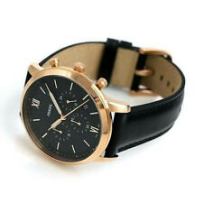 Brand New! Fossil Mens Neutra Black Dial Chronograph Leather Strap Watch FS5381
