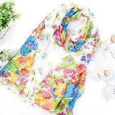 Women Boho Floral Long Scarf Neck Wrap Lady Beach Shawl Large Soft Stole Scarves