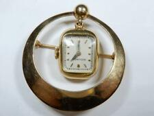 Vintage Movado RARE brooch watch pin 14K gold runs 1949