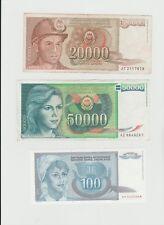 banconote yugoslavia 87-88-92