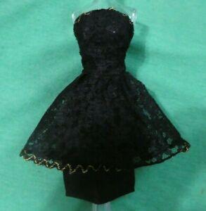 Vintage Barbie Doll Clothes - Vintage Barbie CLONE Black Lace Dress