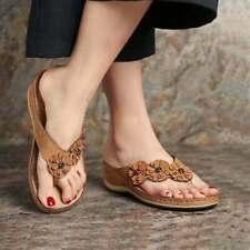 Womens Mid Wedge Heel Slip On Denim Summer Walking Sandals Shoes Size Peep Toe