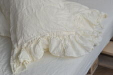 Pillow case color Antique White 100% Linen RUFFLE PILLOW SHAM Cover Queen King