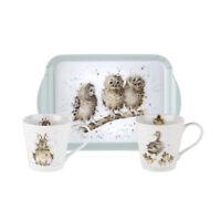 Pimpernel Wrendale 0.18L Porcelain Mugs & Melamine Tray Set Owl Duck Rabbit Gift