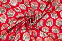 Indian Red Floral Hand Block Print Pure Cotton Fabric Sanganeri Running 5 Meter