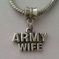 Army Wife USA Military Dangle Charm Bead Silver for European Bracelet