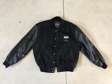 New Mens Cisco Systems Medium Black Wool Bomber Leather Varsity Coat Baseball