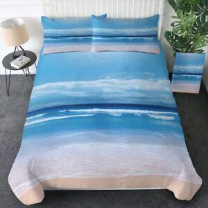 Blue Beach Ocean Sea Sand Cloud King Queen Twin Quilt Duvet Pillow Cover Bed Set