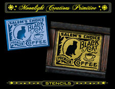 Halloween Stencil~SALEM'S CHOICE BLACK CAT COFFEE~Victorian Style of the 1890s