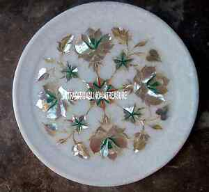 """9"""" White Marble Round Plate Rare Mother of Pearl Inlay Marquetry Art Decor Gift"""