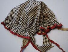 Antique black white red gingham dust bonnet night cap hat primitive VERY OLD